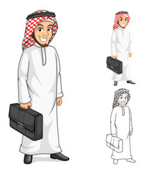 Middle Eastern Man Businessman Holding Bag Cartoon vector image