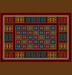 Motley vintage carpet ethnic geometric ornament vector