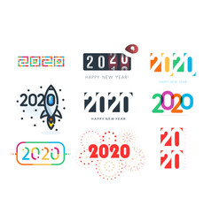 new year diverse unusual sign set for 2020 event vector image