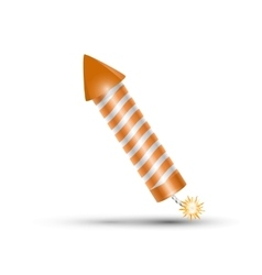 orange fireworks rocket petard vector image