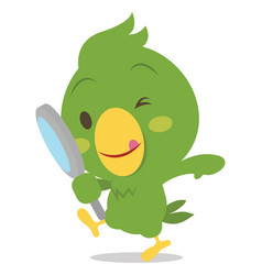 Parrot character with magnifying vector