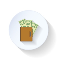 Purse with dollars flat icons vector image