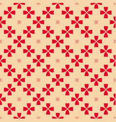 red and tan geometric floral seamless pattern vector image