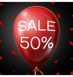 Red Baloon with 50 percent discounts over black vector image