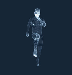 Running man graphics composed particles 3d man vector