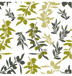 seamless pattern olive branches mediterranean vector image