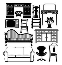 set furniture vector image