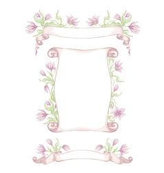 Set hand drawn ribbons with tender flowers vector
