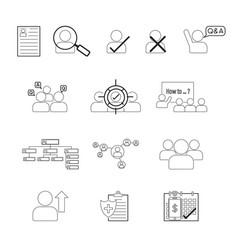 set human resource line icon editable stroke vector image