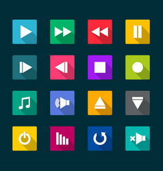 set media player flat icons vector image