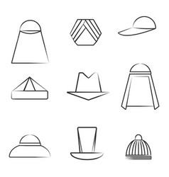 set of different hats in line art style vector image