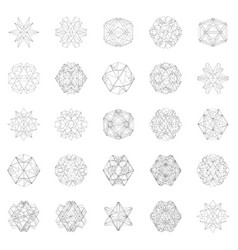 set with abstract geometric shapes from lines vector image