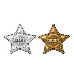 Sheriff star vintage black and color vector