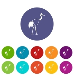 Stork set icons vector image