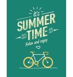 summer time typography poster with flat retro vector image