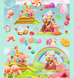 Sweet candy land cartoon game background 3d icon vector