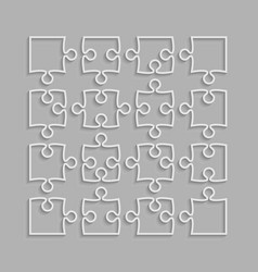 The 16 white puzzle pieces outline of jigsaw vector