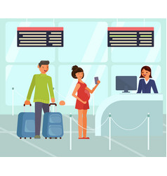 Travelers characters with luggage at the airport vector