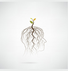 Tree of green idea shoot grow on human head vector image