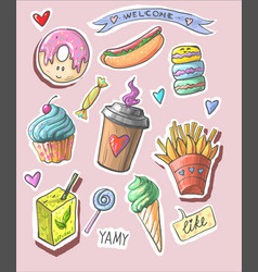 trendy cool set of fast food patch badges in pop vector image