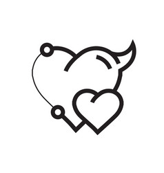 Two heart devil pen tool style vector