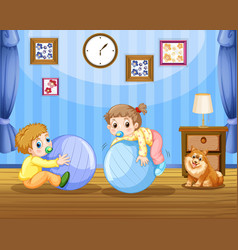 Two toddlers on big balls vector