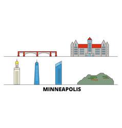 United states minneapolis flat landmarks vector