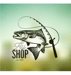 Vintage Salmon fishing emblems vector