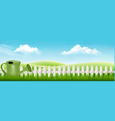 watering can on spring garden background with vector image
