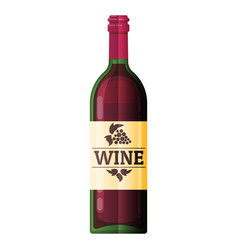 wine bottle flat wine bottle icon vector image