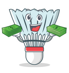 With money shuttlecock character cartoon vector