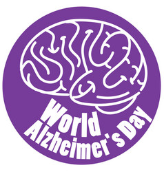 world alzheimers day logo in purple with brain vector image