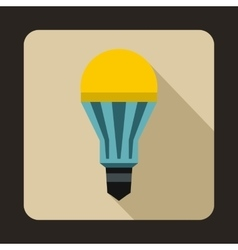 Yellow LED bulb icon flat style vector image