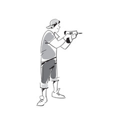 Young man with electric drill icon vector