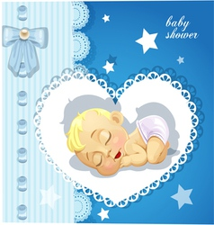 Blue delicate baby shower card with sleeping baby vector image vector image