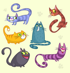 cartoon set of funny cats vector image