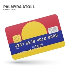 Credit card with Palmyra Atoll flag background for vector image
