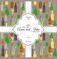 invitation card with bar colorful pattern vector image