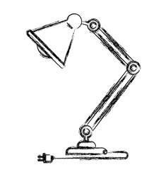 monochrome blurred silhouette of modern desk lamp vector image