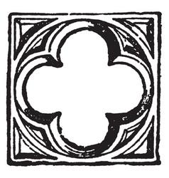 Quatrefoil is four-leaved grass vintage engraving vector