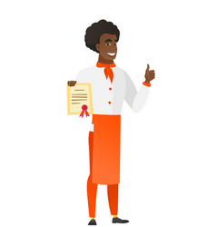 african-american chef cook holding a certificate vector image vector image