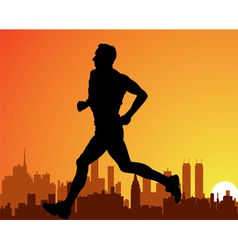 city and a running man vector image vector image
