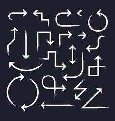 hand drawn arrow set on black vector image