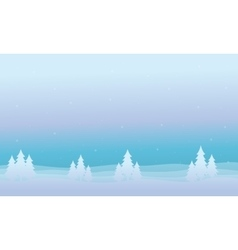 Silhouette of spruce christmas scenery vector