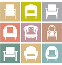 Sofas Icons Set On Square Background vector image