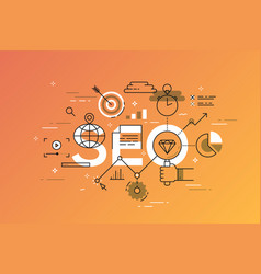 thin line flat design banner of search engine vector image