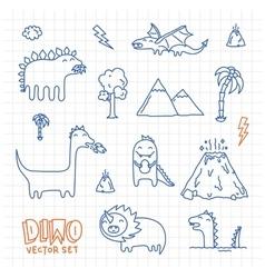Dino ink doodles cartoon set vector image vector image