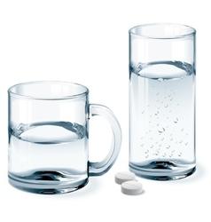 Mug and glass of water vector