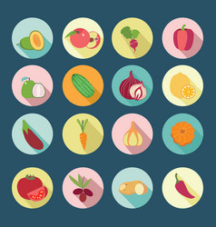 set of fruits and vegetables flat design icons vector image vector image