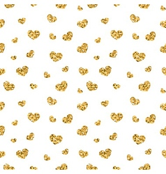 Golden hearts seamless pattern 1 white vector image